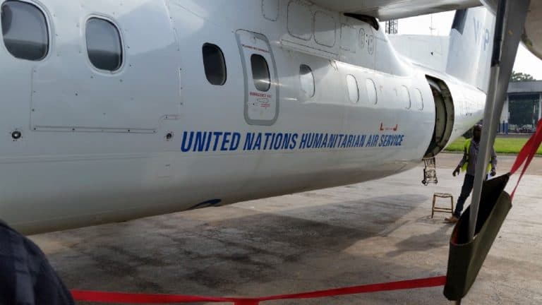 Plane with the sign: United Nations Humanitarian Air Service.