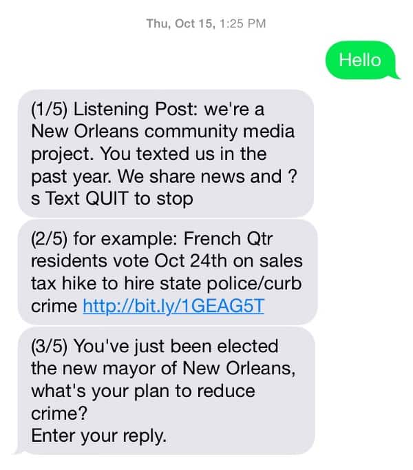 Screen shot of 3 text messages