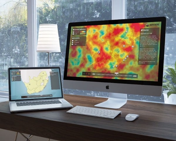 A computer shows the Oxpeckers mapping site