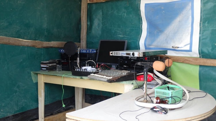 Radio equipment inside a tent
