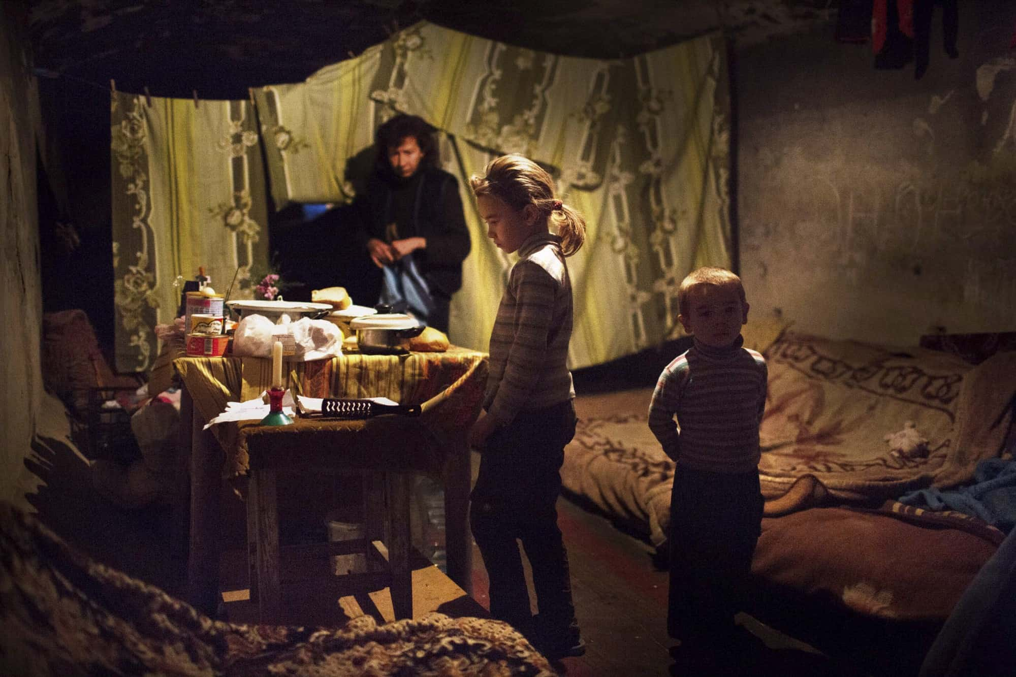 A family lives in a tent