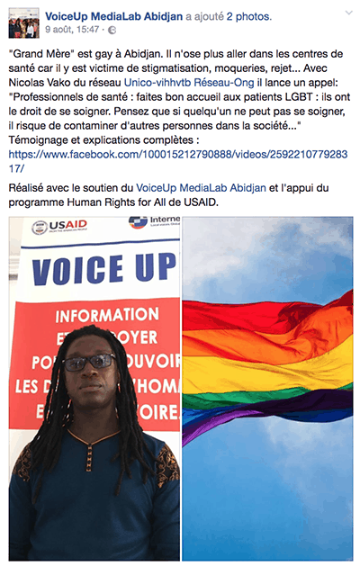 Facebook screenshot of a young man and a rainbow flag.