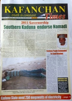 Front page of Kafanchan Times newspaper