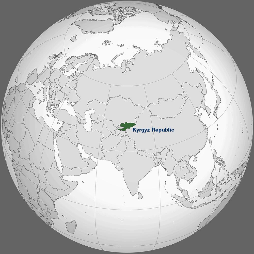 A map showing Kyrgyz Republic