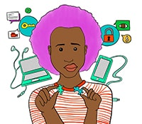 Graphic of a young African woman with computers behind her