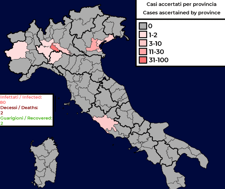 Map showing spread of coronavirus in Italy.