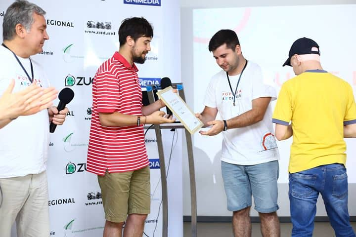 Participants in the hackathon on the stage