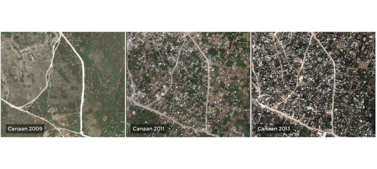 Aerial views showing Canaan in Haiti in 2009, 2011, and 2013.