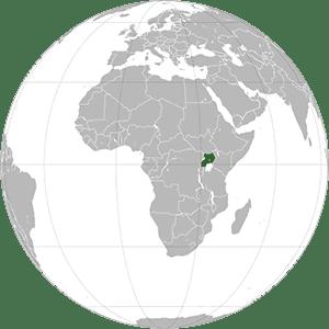 Uganda shown on a globe