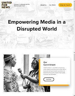 Screenshot of home page of unitedfornews.org