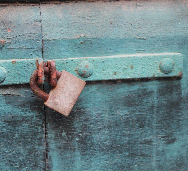 Lock on a metal door.