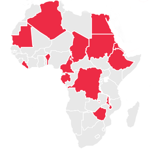 Map of Africa with some countries colored in red