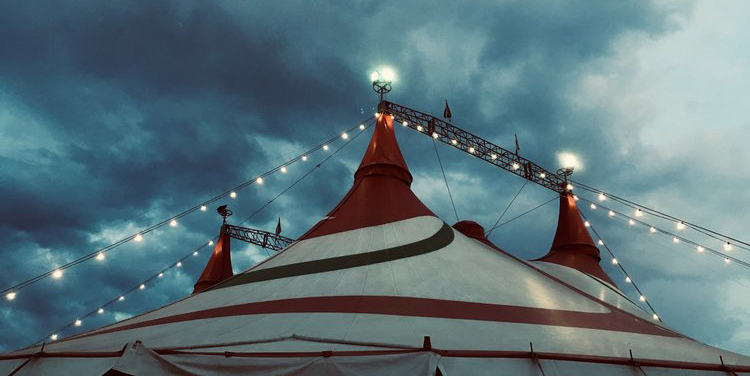 The top of a circus tent