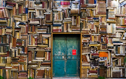 A door surrounded by bookshelves.