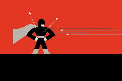 Graphic of a superhero.