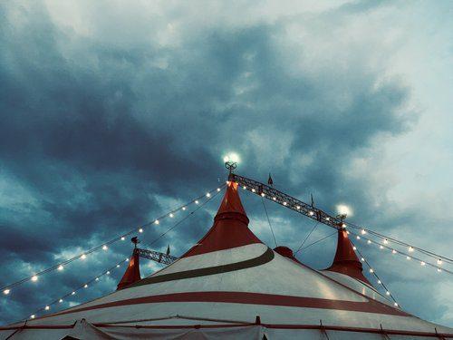 Top of a circus tent.