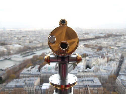 Telescope on top of a building.