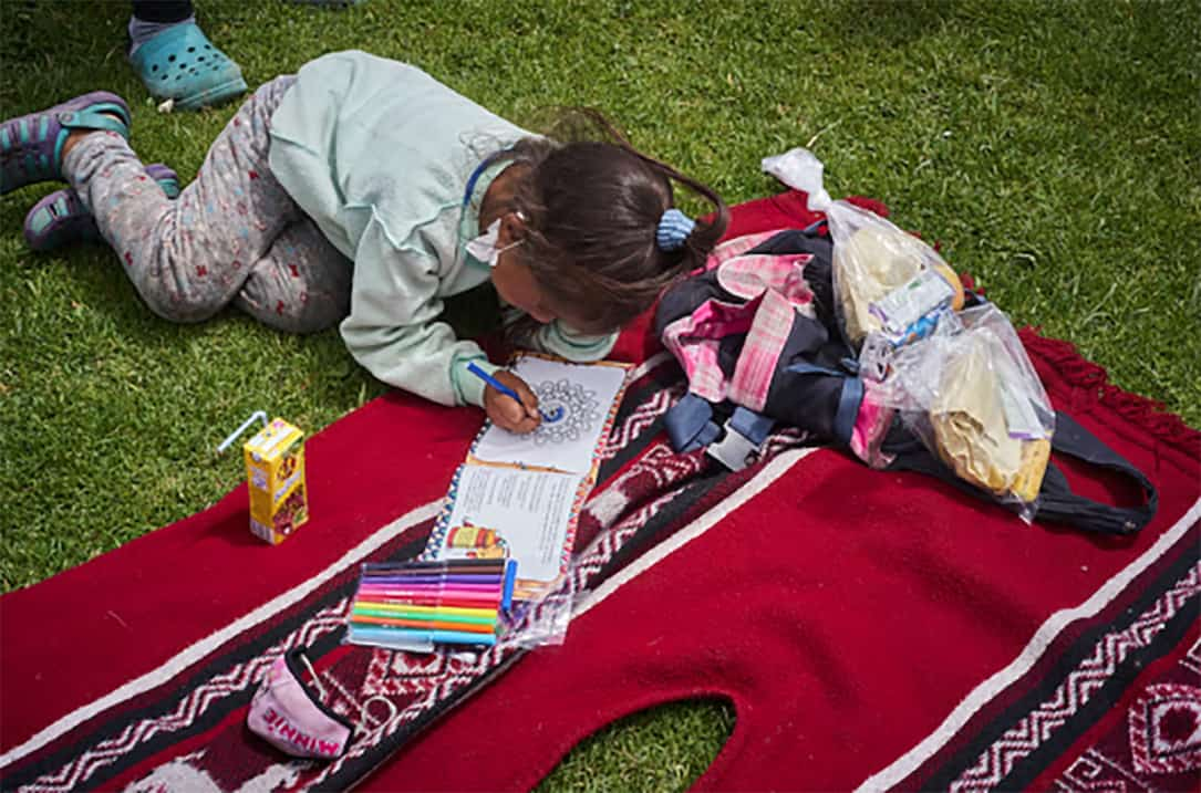 A child lying on a blanket on the grass, colors in a book.