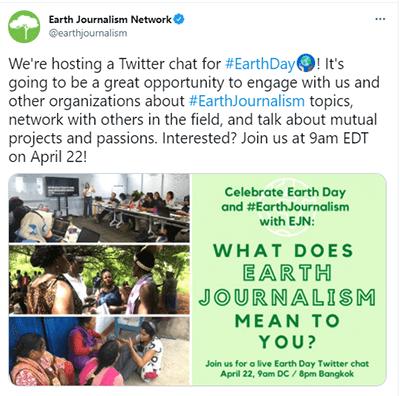 Tweet from EJN re Earth Day