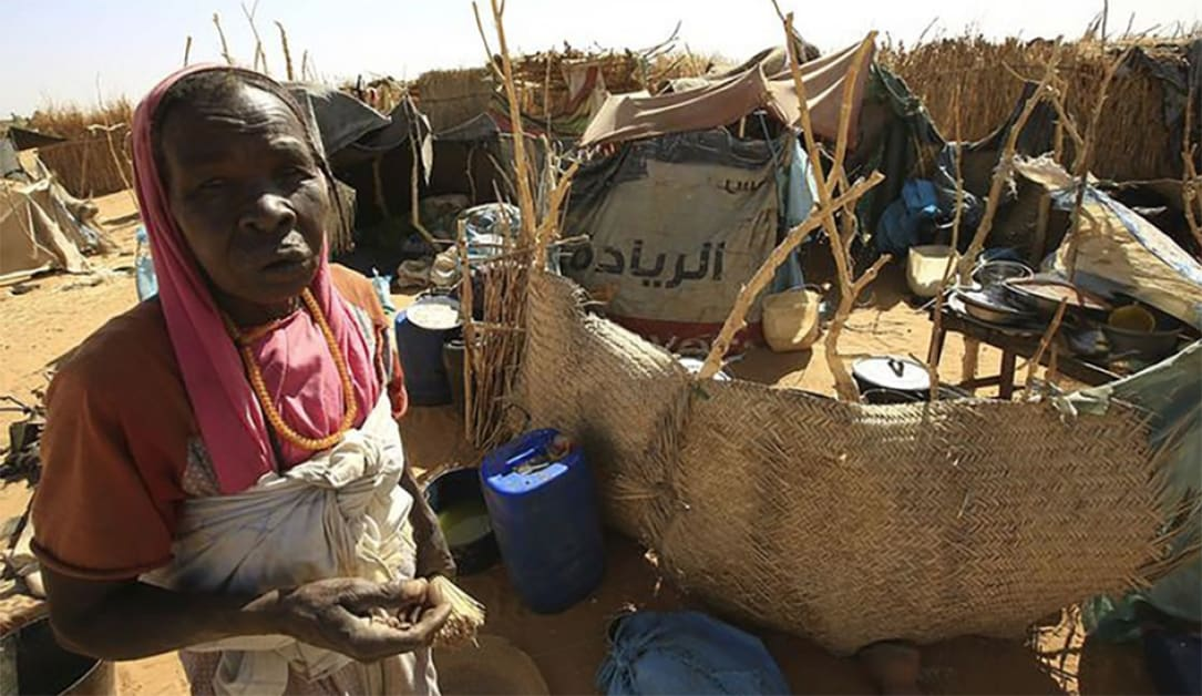 A woman stands next to a shelter made of sticks and reeds.