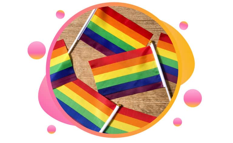 Rainbow flags in a circle.
