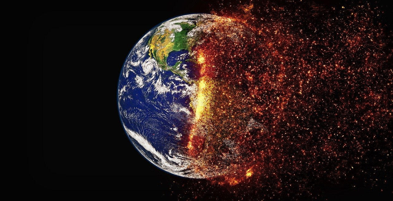 Image of the earth on fire