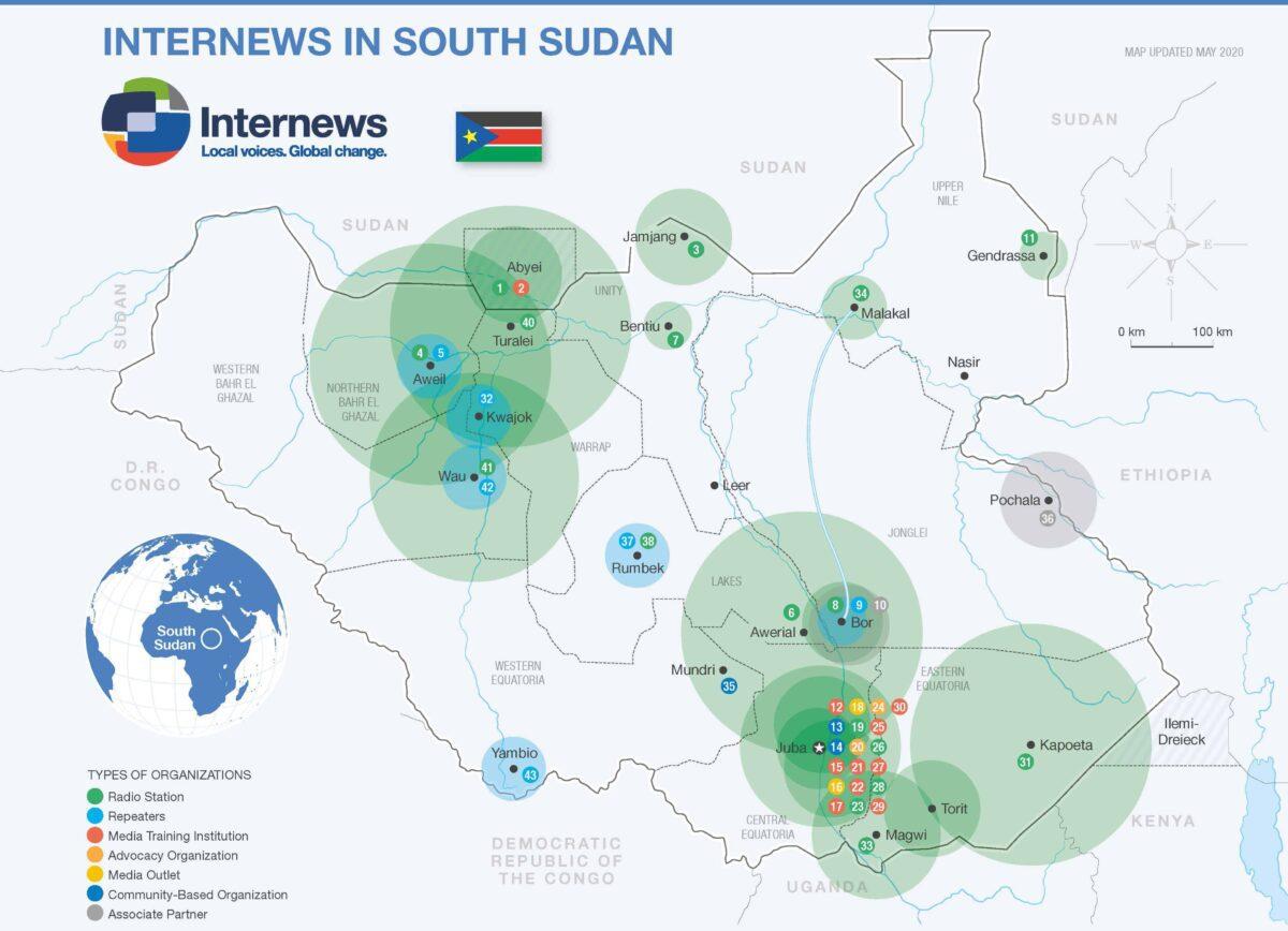 Map of media organizations in South Sudan