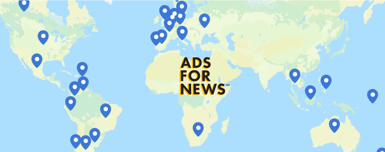 Map of the world with the logo: Ads for News
