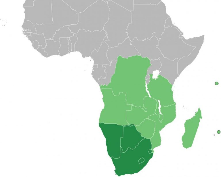 Map of Africa with the southern African countries colored in green