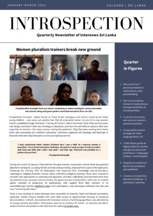 Introspection: Quarterly Newsletter of Internews in Sri Lanka - Q1 2021