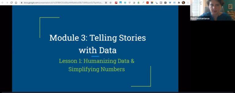 Screenshot from webinar of a title screen