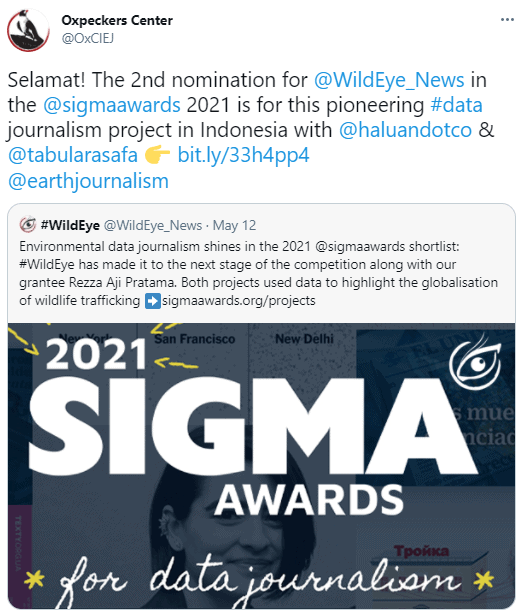 Tweet from Oxpeckers about the Sigma Awards
