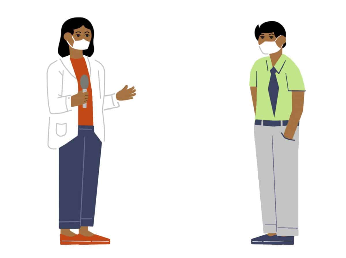 Graphic of a man and a woman talking to each other at a distance and wearing masks