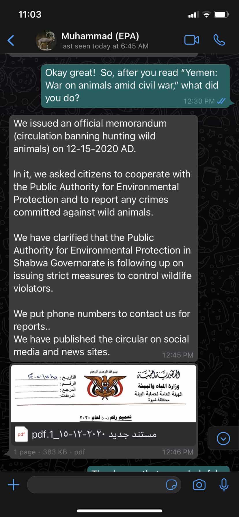Screenshot of a tweet from Muhammad (EPA)