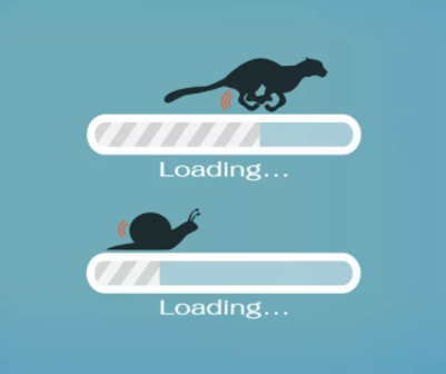 Two bars showing progress; one has a cheetah symbol on it; the other has a snail symbol on it