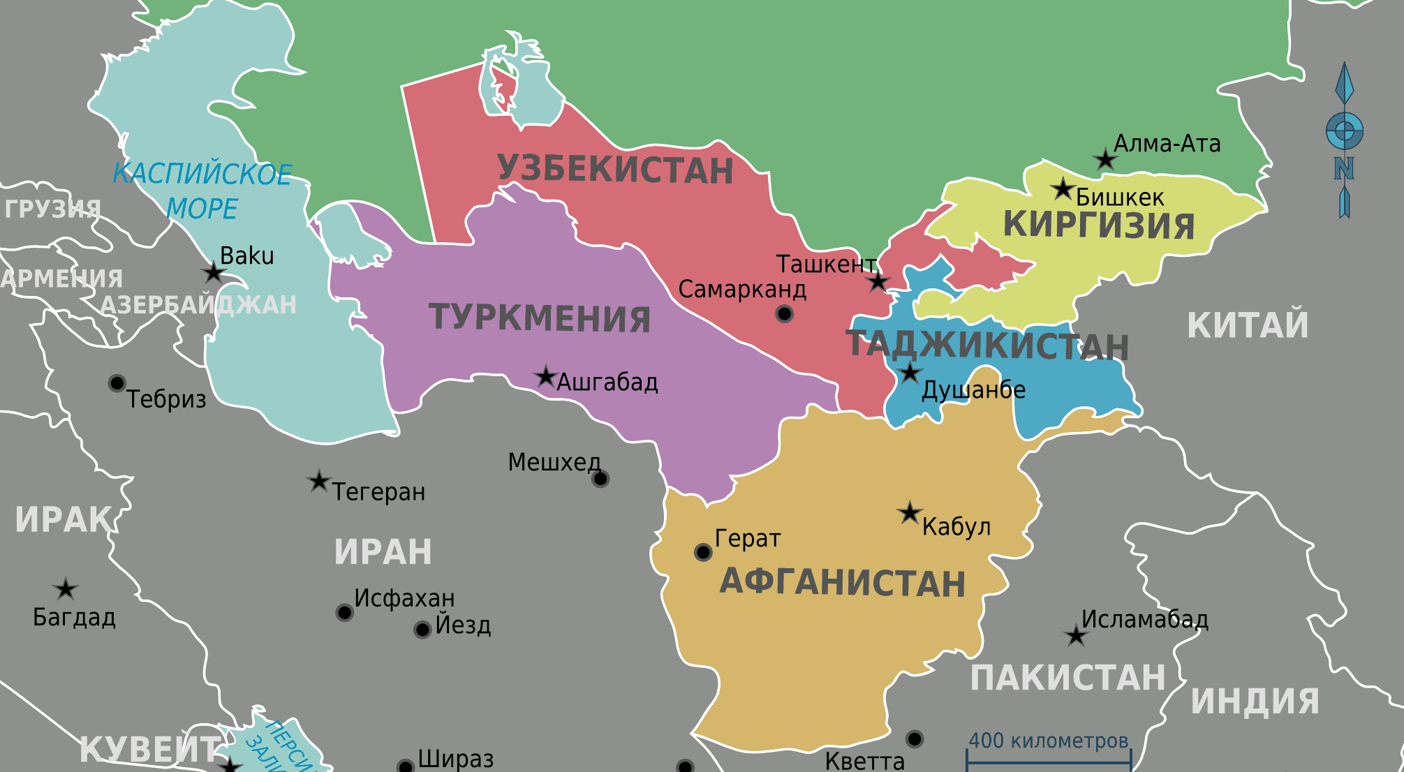Map of Central Asia in Russian.