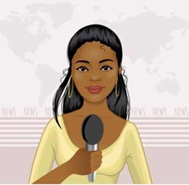 Graphic of a woman using a microphone.