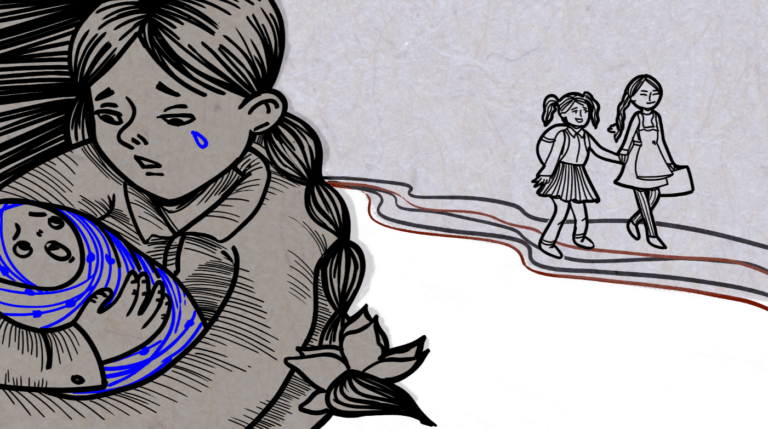 Graphic of a girl holding a baby while two schoolgirls walk in the background.