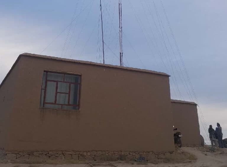 Concrete building with an antenna.