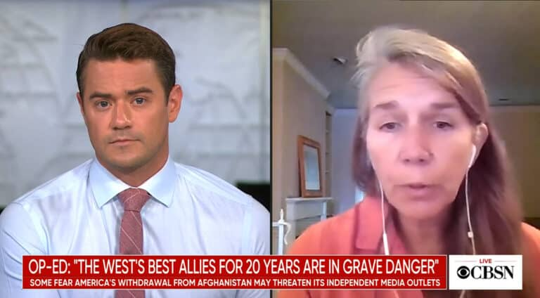 Screenshot of Jeanne Bourgault interview on CBS