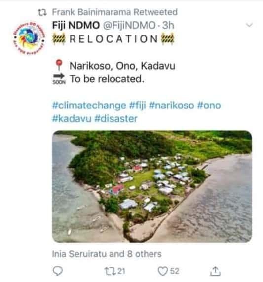 Screenshot of a tweet from Fiji NDMO