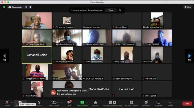 Screen shot of a zoom meeting.