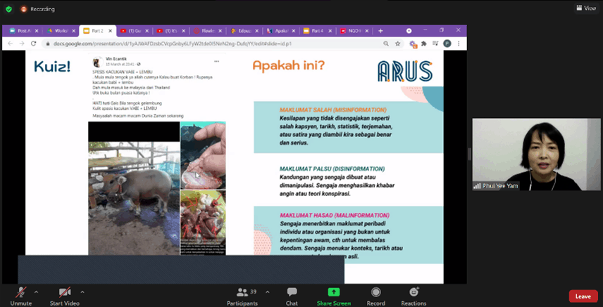 Screen shot from a zoom meeting. Text in Malay.