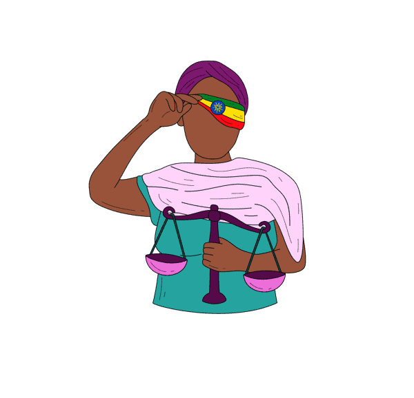Graphic of a person holding a justice scale.