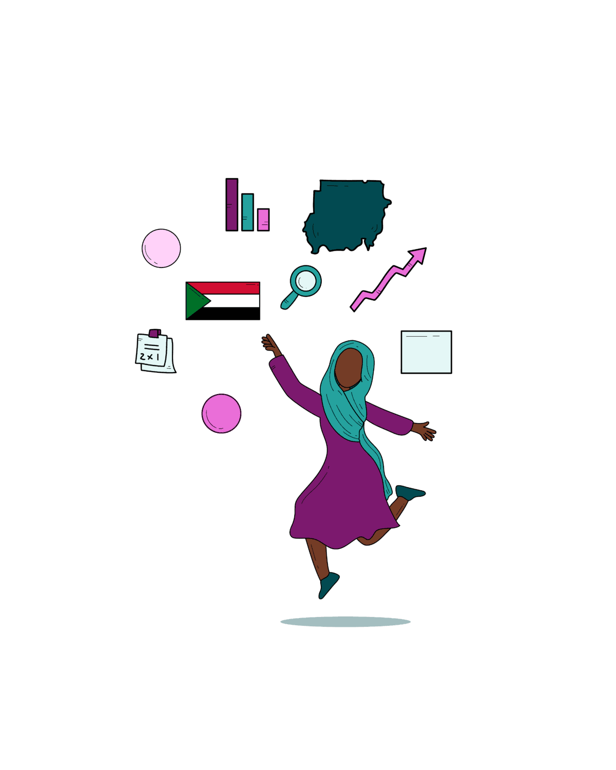 Woman reaching for information