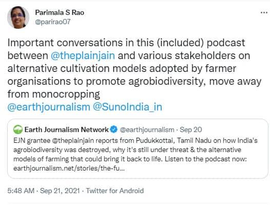 Tweet from Parimala S Rao