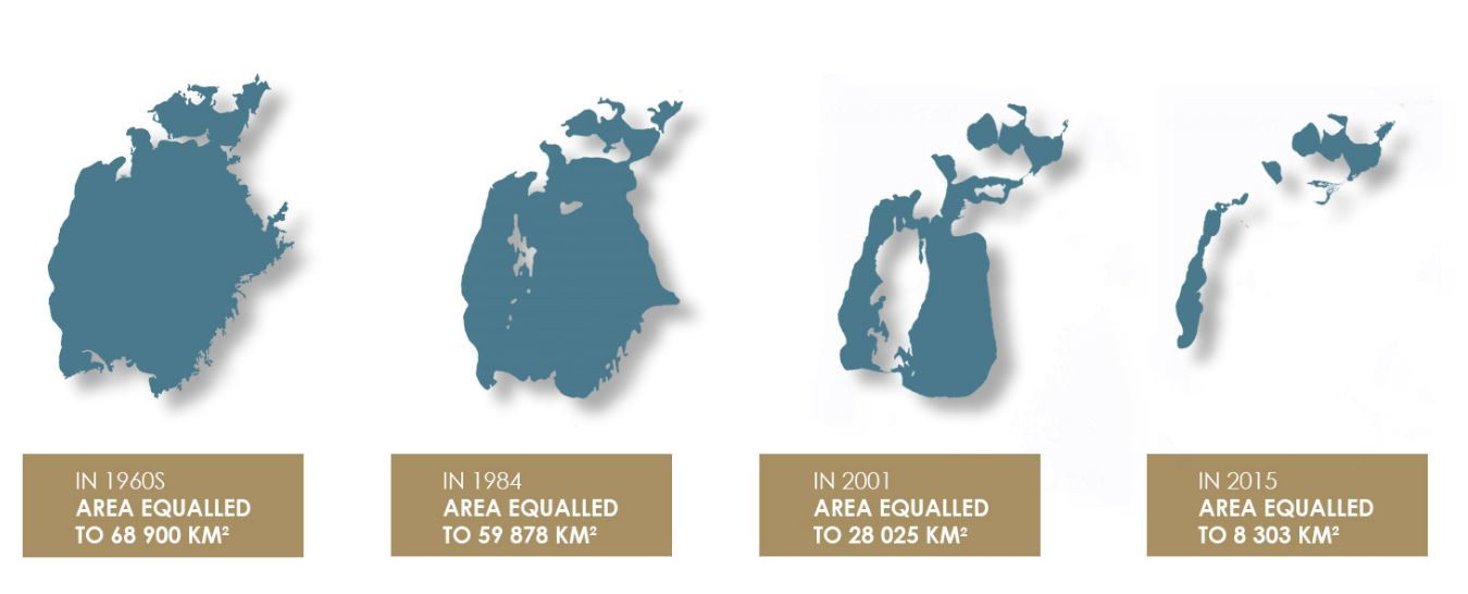 4 maps showing the area of the lake