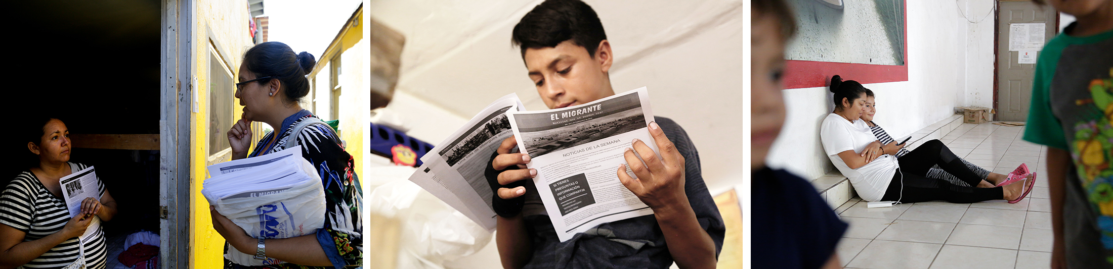 3 photos showing people reading the El Migrante newsletter
