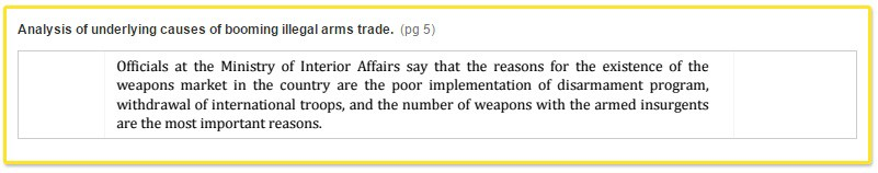 Analysis of underlying causes of booming illegal arms trade. (pg 5) Officials at the Ministry of Interior Affairs say that the reason for the existence of the weapons market in the country are the poor implementation of disarmament program, withdrawal of international troops, and the number of weapons with the armed insurgents are the most important reason.