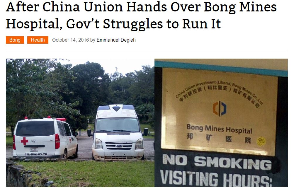 "Screenshot of story titled, ""After China Union Hands Over Bong Mines Hospital, Gov't Struggles to Run It"""